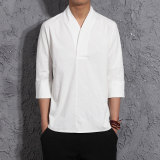 Buy Chinese Style Chinese Linen Spring And Summer Half Sleeve Shirt T Shirt White Other