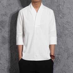 Get Cheap Chinese Style Chinese Linen Spring And Summer Half Sleeve Shirt T Shirt White