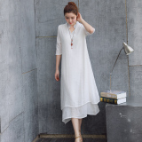Best Rated Chinese Style Classical Linen Improved Chinese Clothing Skirt Dress White