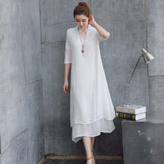 Chinese Style Classical Linen Improved Chinese Clothing Skirt Dress White Online