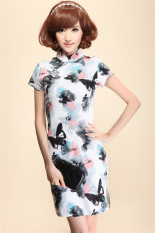 Latest Chinese Style Cotton Linen New Style Summer Cheongsam Ink