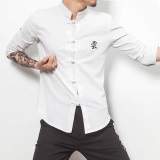 Price Comparison For Chinese Style Linen Handmade Plate Buttons Male Stand Up Collar T Shirt Kung Fu Shirt White