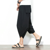 List Price Chinese Style Linen Men Plus Sized Wide Leg Collapse Pants Wide Leg Pants Black Other