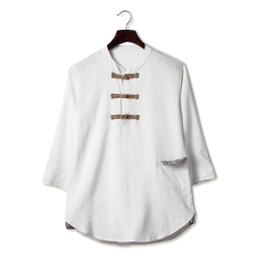 Sale Chinese Style Chinese Cotton Summer 3 4 Sleeve Top Linen Shirts White Color White Color Oem