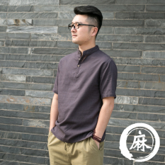 Low Cost Chinese Style Vintage Linen Plain Summer Cotton Linen Top Short Sleeved Dark Gray Color