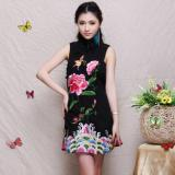 Chinese Style National Cotton Linen Summer Embroidery Floral Sleeveless Dress Cheongsam Best Buy