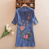 Low Cost Chinese Style National Style Cotton Linen Plus Sized Embroidered Printed Shirt Top Sapphire Blue Color