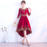 Review Chinese Style Red Bride New Style Mandarin Collar Evening Gown Wedding Dress Gold Lace Burgundy Color Before Short After Long Oem