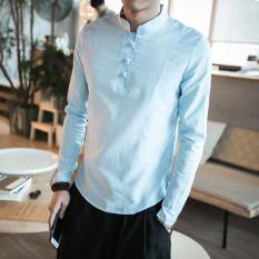 Low Price Chinese Style Vintage Cotton And Linen Men Slim Fit T Shirt Linen Shirts Sky Blue Color Sky Blue Color
