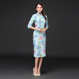 Sale Chinese Style Retro Mid Length Chinese Clothing Improved Cotton Linen Dress Cheongsam Du Lihua Half Sleeve Shirt China Cheap