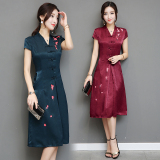 Review Chinese Style Vintage Summer Day To Day V Neck Dress Dark Green Color Dark Green Color On China