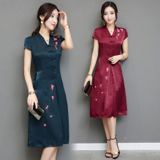Price Chinese Style Vintage Summer Day To Day V Neck Dress Dark Green Color Dark Green Color Other China