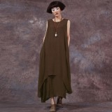 Sale Chinese Style Zanzea Fashion New Womens Casual Loose Dress Cotton Linen Dresses Long Maxi Vestidos Plus Size Femininas Coffee Intl Zanzea Original