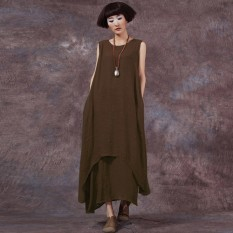 Buy Chinese Style Zanzea Fashion New Womens Casual Loose Dress Cotton Linen Dresses Long Maxi Vestidos Plus Size Femininas Coffee Intl Cheap On China