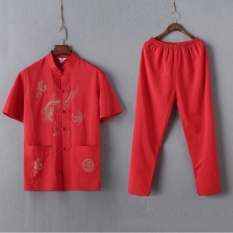 Deals For Chinese Traditional Men Clothing Tops Pants Set Tang Suit Embroidery Dragon Shirt Tees Mandarin Collar Tangzhuang Kung Fu Nation Intl