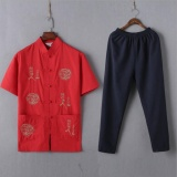 Discount Chinese Traditional Men Clothing Tops Pants Set Tang Suit Embroidery Dragon Shirt Tees Mandarin Collar Tangzhuang Kung Fu Nation Intl Oem