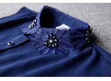 Great Deal Chunning Chiffon Women S Beads Flowers Embroidered Fake Collar Blue