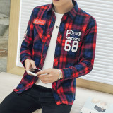 Classic Casual Cotton Men Long Sleeved Thin Coat Small Plaid Shirt Red Coupon Code