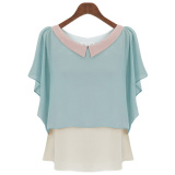 Ladies New Style Doll Collar Loose Short Sleeved Shirt Lotus Leaf Chiffon Shirt 2020 Water Blue 2020 Water Blue Oem Cheap On China
