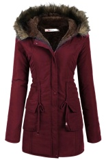Top Rated Clearance Price Astar Women S Casual Hooded Warm Winter Drawstring Waist Coat Fleece Lined Parka Red Intl