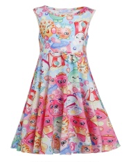 Review Clearance Price Sunweb Kids G*rl O Neck Sleeveless Bow Print Pullover Cute Pleated Dress Floral Intl Not Specified On Hong Kong Sar China