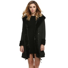 Best Clearance Price Sunweb Stylish Ladies Women Lady Hooded Winter Warm Thick Faux Fur Coat Parka Long Outerwear Overcoat Jacket Black Intl