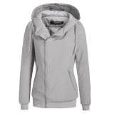 Clearance Price Sunweb Women Winter Long Sleeve Zip Up Waterproof Hooded Quilted Bomber Jacket Outwear Grey Intl For Sale Online