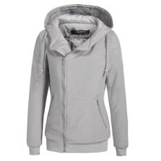 Top 10 Clearance Price Sunweb Women Winter Long Sleeve Zip Up Waterproof Hooded Quilted Bomber Jacket Outwear Grey Intl