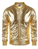 For Sale Clearance Sale Men Metallic Nightclub Style Zip Up Baseball Bomber Jacket Gold Intl