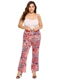 Low Cost Clearance Sale Women Plus Size Bohemian Style Printing High Waist Long Culottes Wide Leg Pants Not Specified Intl