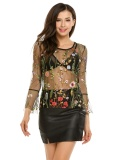 Clearance Sale Women S*xy Flare Sleeve O Neck Floral Embroidery Mesh See Through Leotard T Shirt Top Black Intl For Sale