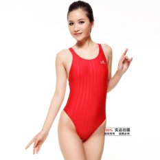 348b52199c1 Yingfa Girl's Racing Style Joined Bodies TRIANGLE Profession a Women's  Swimwear Vertical Stripes Fabric 982