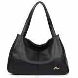 Low Cost Cluci Women S Genuine Cowhide Leather Handbag Casual Shoulder Bag Black Intl