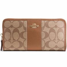 Price Coach Accordion Zip Wallet In Signature Coated Canvas With Leather Stripe Wallet Khaki Saddle F54630 Singapore