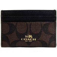 Discount Coach Card Case In Signature Canvas Card Case Brown Black F63279 Coach On Singapore