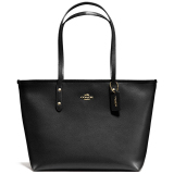 Store Coach Crossgrain Leather City Zip Top Tote Handbag Black F36875 Coach On Singapore