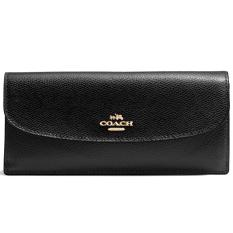 Review Coach Crossgrain Leather Soft Wallet Black F54008 Coach