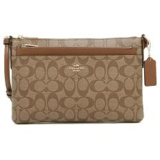 Best Coach East West Crossbody With Pop Up Pouch In Signature Handbag Gold Khaki Saddle Brown F58316