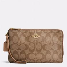 Coach F16109 Double Zip Wallet in Signature Coated Canvas with Gift Receipt