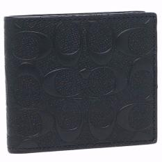 Coach F75363 Men's Wallet in Signature Embossed Crossgrain Leather with Coin Compartment (Black)