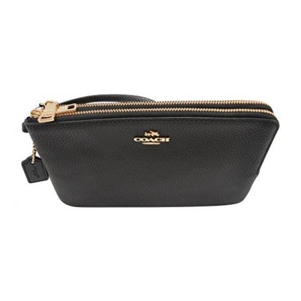 Coach F87587 Double Zip Pebble Leather Wristlet Wallet BLACK - intl