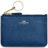 Discount Coach Key Pouch With Gusset In Crossgrain Leather Card Case Marine Blue F57854 Gift Receipt Coach Singapore