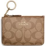Discount Coach Key Pouch With Gusset In Signature Card Case Saddle Brown Khaki F63923 Coach Singapore
