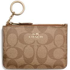Coach Key Pouch With Gusset In Signature Card Case Saddle Brown Khaki F63923 Sale