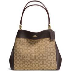 f4fc622c67 Coach Lexy Shoulder Bag In Outline Signature Handbag Khaki Brown   F57612