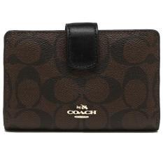 Coach Medium Corner Zip Wallet In Signature Gold Brown Black F54023 Gift Receipt On Line