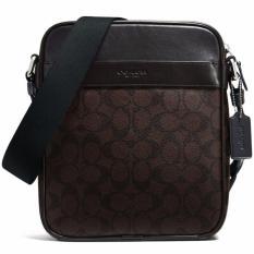 Sale Coach Men F54788 Flight Bag In Signature Crossbody Bag Mahogany Brown Coach Cheap