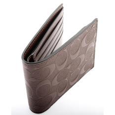 Coach Men Wallet Model F75371 - Compact ID Wallet in Signature Crossgrain Leather - Colour Mahogany