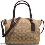 Retail Coach Mini Kelsey Satchel In Outline Signature Handbag Gold Khaki Brown F57830