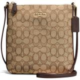 Coach North South Crossbody In Outline Signature Jacquard Handbag Gold Khaki Brown F58421 Gift Receipt Coach Discount